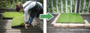 芝付トレイによる緑化