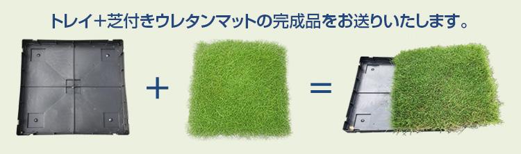 トレイ+芝付きウレタンマットの完成品をお送りいたします。
